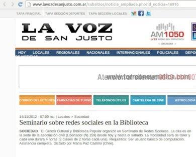 Seminario Redes Sociales Argentina 2012 san Justo
